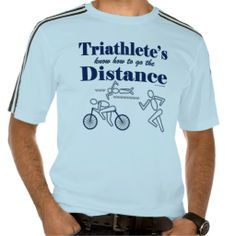 Triathlon Sport Mens Triathlete Go The Distance Adidas ClimaLite® T-Shirt This funny mens sports design shirt features a blue runner, swimmer and cyclist. Triathletes know how to go the distance. Great gift for a recreation or professional triathlete, team, personal trainer or coach, for a triathlete who loves doing triathlons, swimming, cycling and running.