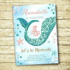 Mermaid party ideas: Mermaid Invitations by Little Printables Shop