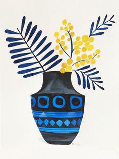 Wattle in Modernist Vase by Sally Browne Floral Illustrations, Illustration Art, Sally Brown, Principles Of Art, Gravure, Art Plastique, Botanical Art, Online Art Gallery, Gouache