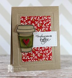 Lil' Inker Designs card using Coffee Cozy stamps and coordinating dies