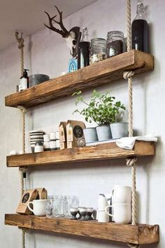 Wooden Wall Shelves, Wall Shelves Design, Rustic Shelves, Wooden Walls, Hanging Rope Shelves, Diy Shelving, Kitchen Wall Shelves, Wood Shelf, Reclaimed Wood Shelves