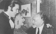 Elvis, Line Renaud, Edward G. Robinson - July 1968 Dunes Hotel, Las Vegas, NV  |   Renaud, popular French singer, actress and activist, first met the singer in 1959-60, when Presley was on leave in Paris, and he caught her revue.