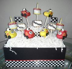 Race Cars Cake Birthday New Ideas Race Car Birthday, Race Car Party, Cars Birthday Parties, Race Cars, Dessert Table Birthday, Cake Birthday, 7th Birthday, Cars Cake Pops, Race Car Cakes