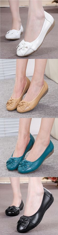 US$19.52 Big Size Bowknot Pure Color Slip On Flat Casual Shoes