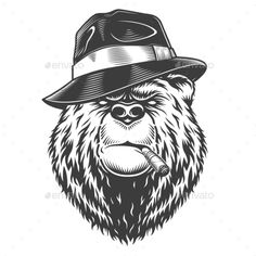 Buy Vintage Logo Style Bear by imogi on GraphicRiver. Vintage logo style bear in fedor hat with cigarette. Pepsi Vintage, Logo Vintage, Vintage Art, Vintage Style, Ideas Vintage, Bear Design, Animal Design, Logo Design, Vector Design