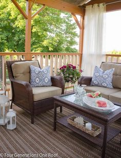 Our summer covered porch {makeover- before & after) @Four Generations One Roof #BHGSUMMER