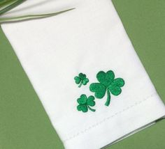 Set of 4 Happy St. Patrick's Day 3 Clover Embroidered Cloth Napkins-Table Idea