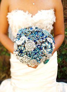 Broach blue wedding bouquet? The sparkles sort of scream me...