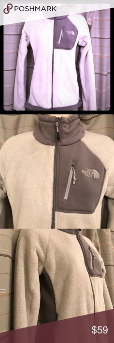 The North Face Polartec fleece zip up jacket! This is a barely worn North Face Polartec fleece jacket. Very warm and snuggly! It is a white (not Snow White, more off white) color with grey details. It has three pockets with at all zip closed. The North Face Jackets & Coats