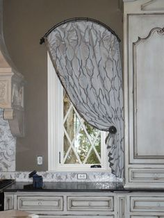 Arch Hardware Plain Top Drapery Panel With Contrast Lining And Hold Back