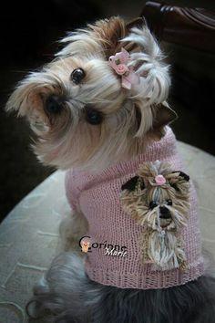 Corinne in a portrait sweater