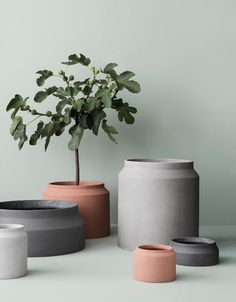 The Ferm LIVING Pot Concrete/Vessel Big was created by the in-house design team for Danish design company ferm LIVING.ferm LIVING was created by Trine Andersen Concrete Plant Pots, Cement Flower Pots, Ceramic Plant Pots, Large Plant Pots, Plant Box, Large Outdoor Planters, Modern Planters, Indoor Outdoor, Outdoor Pots