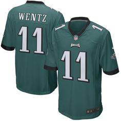 1155d6fe3 Youth Philadelphia Eagles Carson Wentz Nike Green Game Jersey