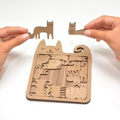 Puzzle HAPPY CATS -  wooden hand finished puzzle which also serves as tea tray. A story is included!