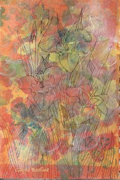 Mixed Media Tiger Flowers (spray ink, collage, ink).