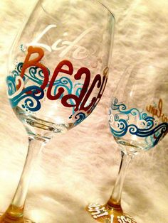 Life's a Beach Wine Glass on Etsy, $25.00
