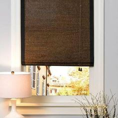 Blinds.com Brand Deluxe Woven Wood Shades in Aruba Earth. These wooden roman shades form elegant accordion pleats as they are raised. See more textures and colors at Blinds.com.