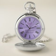 Lilac rising phoenix retirement gift pocket watch - click to get yours right now!