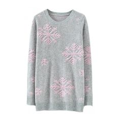 Gray Stylish Womens Snowflake Pullover Christmas Sweater ($16) ❤ liked on Polyvore featuring tops, sweaters, shirts, sweater pullover, grey sweater, gray top, grey pullover and snowflake pattern sweater