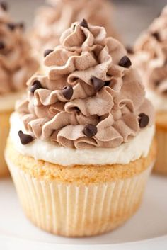 Cannoli Cupcakes- delicious cupcakes topped with a layer of soft and fluffy Cannoli topping, made of Ricotta and Mascarpone cheese, frosted with Sweetened Chocolate Whipped Cream and garnished with chocolate chips.