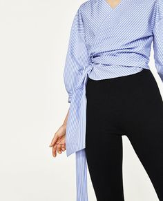 Image 2 of STRIPED CROSSOVER SHIRT from Zara