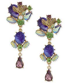 Betsey Johnson Earrings, Antique Gold-Tone Purple Carved Flower Multi-Gem Linear Earrings