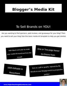 Are you a teacher blogger? Then you need a media kit for your blog! Use this basic template to get started. Add your own fonts, graphics, and POP to make your media kit stand out. You'll immediately be able to tell companies and sponsors all the vital criteria about your blog in one quick view. Choose from a one or two page layout. It was created in PowerPoint, so it's 100% editable! Gets yours to help make your blog more successful today!