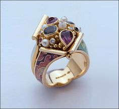 Ring   Fred Rich.  18ct gold and enamel, with tsarvorite garnets, pink tourmalines & small diamonds
