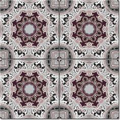 Marrakech Grå/Vinröd kakeldekor 6-pack