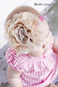 Baby Girl Headbands  Newborn Headband  Nude by LemonadeStand24, $14.50