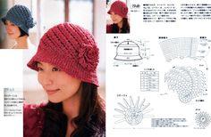 Crochet Cloche Knitted Hats, Crochet Hats, Crochet Diagram, Hats For Women, Crochet Projects, Fashion Accessories, Knitting, Vintage, Pandora