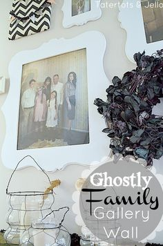 Love this ghostly family gallery wall for Halloween #DIY