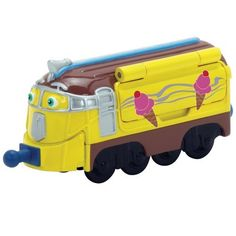 Chuggington Die-Cast Frostini by TOMY. $7.27. Collect all of your favorite Chuggington characters!. Durable die-cast construction. Secure couplings easily connect to other vehicles. Side door opens to reveal ice cream machine!. Stack Track Compatible. From the Manufacturer                Frostini is the Italian ice-cream chugger. Sleek, glamorous and outgoing, he is a real showman. Being an ice-cream chugger is beloved in Chuggington.  His arrival is preceded by his melod...