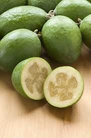 Feijoa - Have so many on my tree right now. Low calorie, high Vitamin C, sweet and yummy!