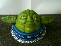Yoda grooms cake, 100% edible, made by Tootsweets Cupcakery