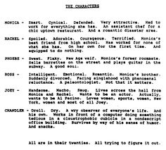 The original character descriptions of F.R.I.E.N.D.S.