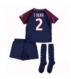 PSG Thiago Silva 2 Hemmaställ Barn 17-18 Kortärmad Paris Saint, Saint Germain, Psg, Saints, Fashion, Thiago Silva, Moda, Fashion Styles, Fashion Illustrations