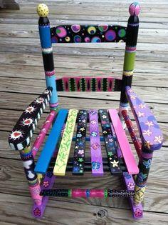 Children's Rocking Chair by FunkyHouseOfLydia on Etsy, $75.00