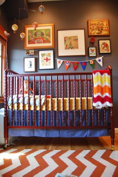"""LOVE this circus nursery.  Good baseline and tie in a """"sideshow"""" mobile, maybe more """"sideshow"""" art.  BRING ON THE BEARDED LADY!"""