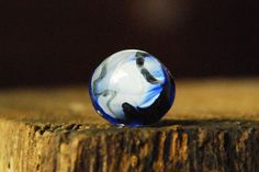 Abstract Blue and White Round Resin Ring  Adjustable by ResinRings