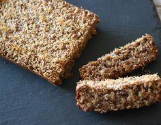 TigerNut Coconut Bread (almond flour, tigernut flour, coconut, baking powder, flax meal, cinnamon, salt, bananas, maple syrup, coconut oil, vanilla)
