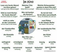 Im Kino = At the cinema Study German, German English, Learn German, Learn French, German Grammar, German Words, Learn English Words, Spanish Lessons, Teaching Spanish