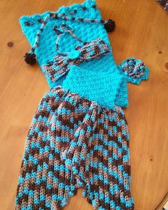 C'est fini. #mermaid tail with top and flower barrette. #crochet #granddaughter
