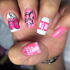 Here are some hot nail art designs that you will definitely love and you can make your own. You'll be in love with your nails on a daily basis. Crazy Nail Designs, Pink Nail Designs, Beautiful Nail Designs, Rhinestone Nails, Bling Nails, Hot Nails, Hair And Nails, Sensational Nails, Breast Cancer Nails