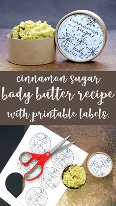 Best Homemade Non-Greasy Cinnamon Sugar Body Recipe for DIY holiday gifts to nourish dry skin! This cinnamon sugar homemade non-greasy body butter recipe makes wonderful homemade Christmas gifts & comes with free printable labels to make gifting easy! Diy Holiday Gifts, Handmade Christmas Gifts, Homemade Christmas, Diy Gifts, Holiday Ideas, Handmade Crafts, Christmas Diy, Soap Gifts, Xmas Ideas