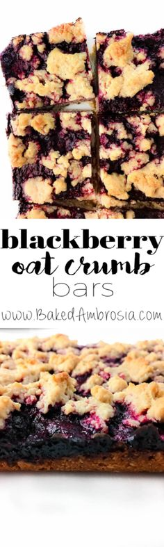 Blackberry Oat Crumb Bars (Gluten Free, Vegan) (cookies for kids dairy free) Gluten Free Treats, Gluten Free Cookies, Vegan Treats, Gluten Free Baking, Gluten Free Desserts, Vegan Desserts, Vegan Gluten Free, Gluten Free Recipes, Vegan Recipes