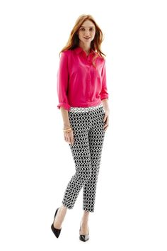 trends: printed pants; worthington silk shirt and jacquard ankle pants
