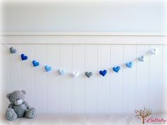 Heart garland - heart banner - blue, grey and white - felt hearts - nursery decor - birthday decor - made to order