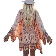 Women Boho Feathers Printed Sheer Chiffon Kimono Cardigan >>> You can get additional details at the image link. (This is an affiliate link) #Sweaters