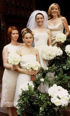 Carrie Bradshaw With Miranda Hobbs And Samantha Jones At Charlotte York's Wedding To Tray, Season 3